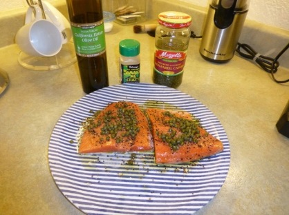 salmon on striped plate