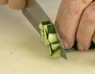 dicing zucchini