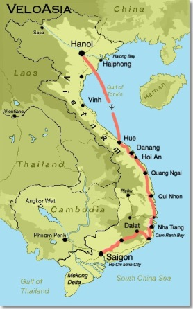 Viet bike tour map