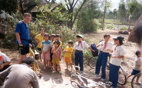 Viet bike tour travis with kids