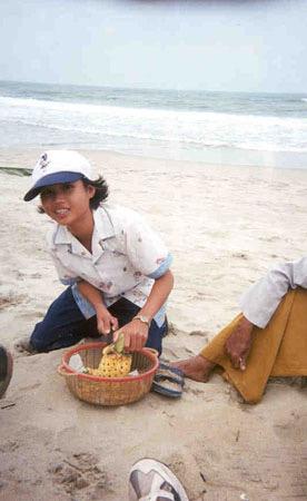 vietnamese boy on beach