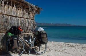 Jared bike on beach