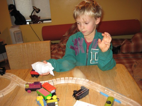 Silas playing trains